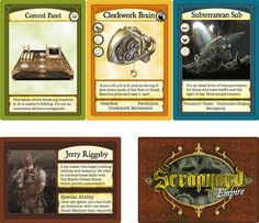 The card types you can find in Scrapyard Empire are Inventions, Small Machines, Parts,  Character cards! #steampunkinvention #cardgames  For more details on this Steampunk Card Game visit: http://www.scrapyardempire.com