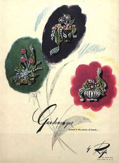 1947 Reja jewelry ad ''Gardenesque''