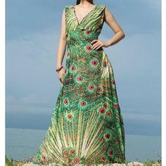 Maxi Dress Women Plus Sizes Clothing Peacock Long by myuniverse, $55.00