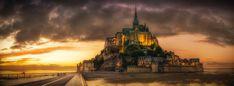 Mont St Michel, Sunset, Island, Church, Normandy