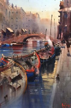 Kai Fine Art is an art website, shows painting and illustration works all over the world. Watercolor Artists, Watercolor Landscape, Watercolor And Ink, Landscape Paintings, Watercolor Paintings, Watercolours, 7 Arts, Venice Painting, Boat Art