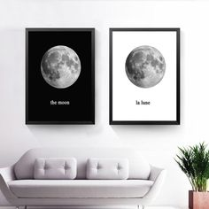 The Planet Canvas Art Print Poster, Black White Wall Picture for Home Decoration, Moon La Lune Print Art Wall Poster Canvas Poster, Poster Wall, Canvas Frame, Canvas Art Prints, Canvas Wall Art, Print Poster, European Home Decor, Unique Wall Art, Home Pictures