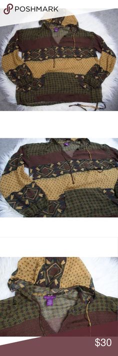 Beverly Drive Brown Hooded Sheer Blouse 16-18 Plus Beverly Drive Women's Plus Hooded Oversized Sheer Brown Green Blouse sz 16-18.  Would be great to use as a swim cover up! Please let me know if you have any questions.  Make sure to check out my other items.  Combined shipping is available. Beverly Drive Tops Blouses
