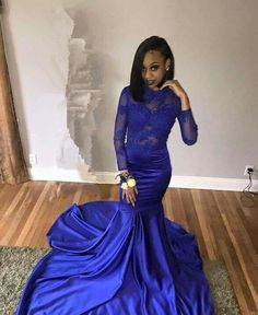 Open Low Back Royal Blue Mermaid Prom Dress with Long Sleeves