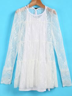 Shop White Long Sleeve Hollow Lace Dress online. Sheinside offers White Long Sleeve Hollow Lace Dress & more to fit your fashionable needs. Free Shipping Worldwide!