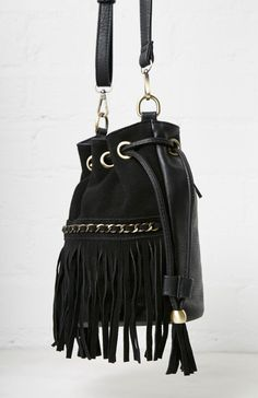 Sinatra Faux Suede Fringe Bucket Bag in Black | DAILYLOOK