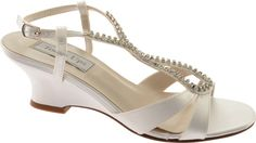 Touch Ups Geri - White Satin with FREE Shipping & Exchanges. The perfect wedge for that outdoor event! This low heeled sandal features an ornate broach and a