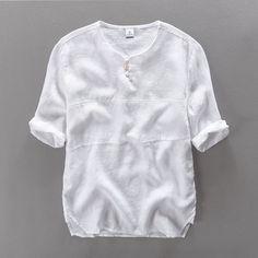 2017 New Arrival Short Sleeve Loose Brand Shirt Men Linen Solid White Summer Men Shirts Flax Casual Mens Shirts Fashion Camisa