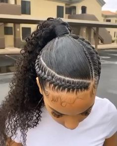 Hair Ponytail Styles, Weave Ponytail Hairstyles, Baddie Hairstyles, African Braids Hairstyles, Cornrow Ponytail, Half Cornrows, Dance Hairstyles, Dread Hairstyles, Casual Hairstyles