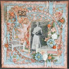 Great. Grandmother Susan ~ Beautifully detailed heritage page with stitching, punch-work, fussy cutting and dimensional flowers. Love the added touch of the park bench and picket fence!