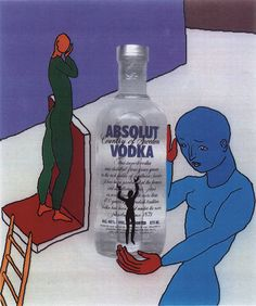 Advertisement for Absolut Vodka, © Barbara Nessim, 1991. 8.5 x 11 inches.