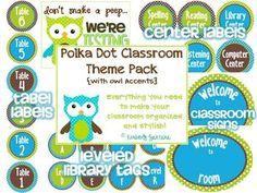 Polka Dot Owl Classroom Theme Pack