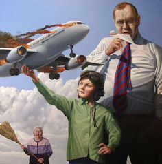 """Painting """"Flying Enterprise"""" by the Danish artist Ole Fick, 80 x 80 cm."""