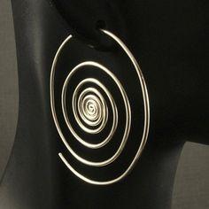 Silver+Hoop+Earrings++/+Super+Spirals+/+Sterling+by+MetalRocks,+$38.00
