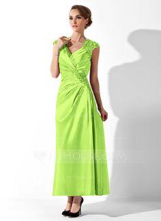Corte A/Princesa Escote en V Hasta el tobillo Charmeuse Vestido de madrina con Volantes Encaje Bordado (008013961)