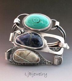Laura J. Bouton | Silver semi-precious stone bracelets (top: Malachite, middle: Sodalite, bottom: Royston Ribbon Turquoise).