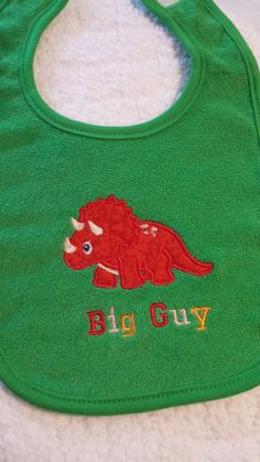 Cute Appliqued Green  Triceratops  Big Guy Bib by sewsewcutesewing, $6.00