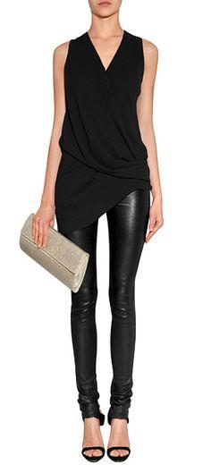 Helmut Lang Top & Leather Leggings