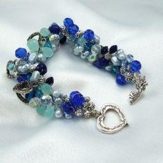 My Heart Belongs To Blue Wire Bead Crochet Bracelet