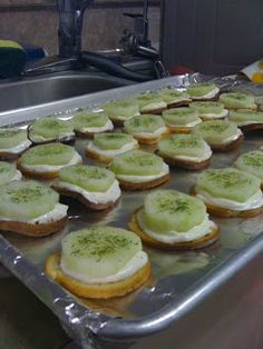 Cucumber Appetizer -- Prepare with New York Style brand Bagel Crisps - The authentic taste of bagels from New York City bakeries. www.newyorkstyle.... #bagels #fingerfoods #cucumbers