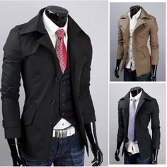 Men's Slim Windbreaker Single-breasted Jacket Tencel Short Coat via martEnvy. Click on the image to see more!