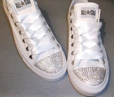 Love the satin shoestrings----Swarovski Crystal Mono White Converse Lo's Bling Womens Adult sneakers Teen Chuck All Star