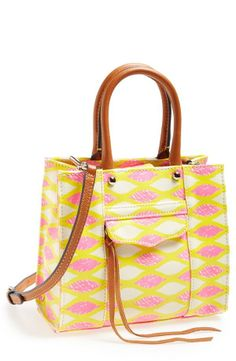 Such a pretty yellow and pink print on this Rebecca Minkoff 'mini mab tote' crossbody.