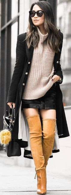 Pleated long coat & Chunky jumper / Fashion By Wendy Nguyen