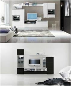 壁面収納家具の扉の色はテレビのフレームの色に合わせると、テレビが違和感なく風景になじみますね。