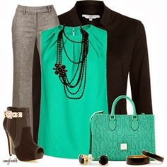 Turquoise Work Outfit Style Fashion