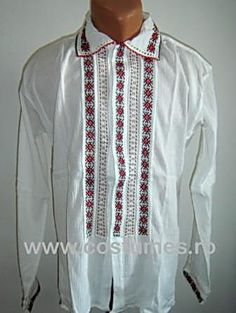 Traditional Romanian men's blouse. Romanian Men, Folk, Costumes, Traditional, Blouse, Places, Jackets, Shirts, Fashion