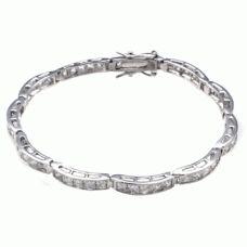 Sterling Silver Princess Cubic Zirconia Tennis Bracelet (TB017)
