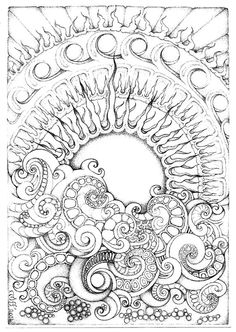 Abstract Doodle Zentangle ZenDoodle Paisley Coloring pages colouring adult… Zentangle Drawings, Doodles Zentangles, Zentangle Patterns, Doodle Patterns, Abstract Drawings, Sun Doodles, Cool Doodles, Zantangle Art, Op Art