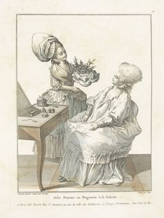Jolie Femme en Pergnoire a sa Toilette: 1780, Collection d'Habillements Modernes et Gallantes; Desrais; Deny