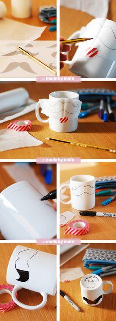 {DIY Crafts} Moustache-themed mug for my Dad's 60th Birthday! | ©MadebyMolu