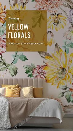 Who doesn't love the colour yellow? It's bright, uplifting and boosts your mood instantly, so why not incorporate this fun colour trend into your home? Take a look at these stylish yellow floral wallpapers from Wallsauce.com. Bursting with colour and floral blooms, these on-trend murals will instantly brighten up your bedroom space! Style with grey to compliment and add tonal yellow accessories throughout for a cohesive look. Shop your favourite at Wallsauce.com! #yellow #yellowandgrey… Dandelion Wallpaper, Magnolia Wallpaper, Lily Wallpaper, Cherry Blossom Wallpaper, Bedroom Wallpaper, Modern Floral Wallpaper, Floral Wallpapers, Flower Mural, Chinoiserie Wallpaper