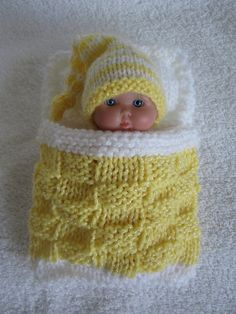 Items similar to Berenguer Baby Doll Sleeping Bag and Nightcap Hand knit doll clothes 5 inch baby doll, Sleep Pouch with Pillow fits Itty Bitty baby dolls on Etsy Knitted Doll Patterns, Knitted Dolls, Baby Knitting Patterns, Crochet Dolls, Hand Knitting, Knitting Dolls Clothes, Crochet Doll Clothes, Doll Clothes Patterns, Baby Doll Nursery
