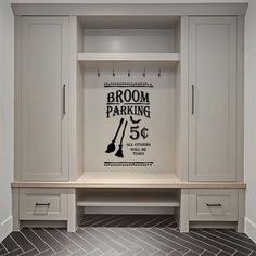 Laundry Room Ideas Discover The Holiday Aisle Ebert Broom Parking All Others Will Be Toad Vinyl Words Wall Decal Mudroom Cabinets, Mudroom Laundry Room, Interior Design Living Room, Living Room Decor, Interior Livingroom, Camper Makeover, Up House, New Homes, Wall Decal