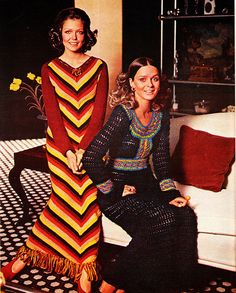 1970s - hanging out in crochet dresses