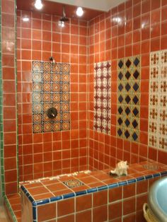 Bathroom shower using mexican tiles by kristiblackdesigns for Terracotta bathroom ideas