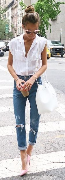 #streetstyle #casualoutfits #spring | White Sleeveless Shirt + Ripped Denim | Something Navy