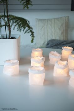 LED candles in paper bags