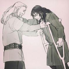 Fili and Kili. when Kili almost dies, but Tauriel saves him. He needs crutches for a few days as his leg strengthens Fili Y Kili, Tauriel, Ereri, Thorin Oakenshield, Bilbo Baggins, O Hobbit, M Anime, Sherlock Quotes, Sherlock Holmes