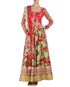 Floral Printed Spring Green Anarkali Suit with Red Yoke - Kylee - Designers