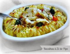 recipes of the world Cod Fish Recipes, Veggie Recipes, Seafood Recipes, Gourmet Recipes, Cooking Recipes, Fish Dishes, Seafood Dishes, Main Dishes, Bacalhau Recipes