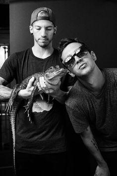 Tyler, josh and a baby alligator. Okay