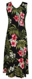 Pink Hibiscus - Ladies Rayon Bias Cut V-Neck Dress Black
