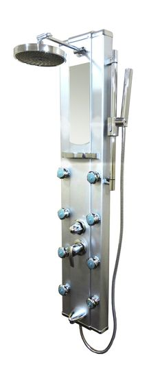 Features:  -Material: Aluminum.  -Features a rainfall shower head and integrated tub spout.  -Handshower finish: Chrome.  --Create the ultimate showering experience with this Kokols shower panel syste