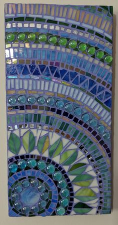 Stained glass mosaic wall hanging in blue and green Mosaic Birdbath, Mosaic Garden Art, Mosaic Flower Pots, Mosaic Pots, Mosaic Glass, Stained Glass, Mosaic Tables, Fused Glass, Green Mosaic Tiles