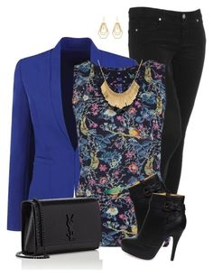 Bird Print Top by daiscat on Polyvore featuring polyvore, fashion, style, Paige Denim, Yves Saint Laurent, Kara by Kara Ross and clothing